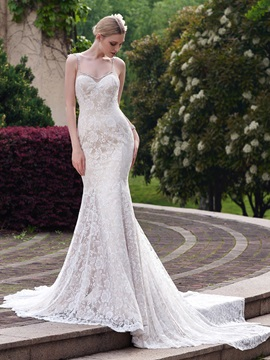 Spaghetti Straps Lace Mermaid Designer Wedding Dress