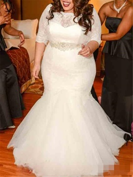 Mermaid Half Sleeve Plus Size Wedding Dress