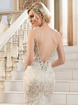 Beaded Spaghetti Straps Backless Lace Mermaid Wedding Dress