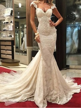 Sexy Backless Cap Sleeves Appliques Mermaid Lace Wedding Dress