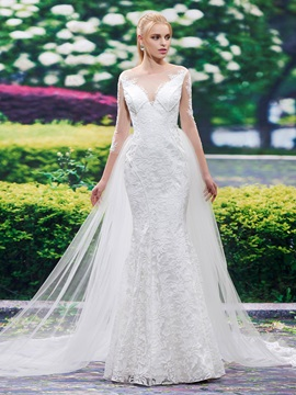 Sheer Neck Long Sleeves Lace Watteau Train Mermaid Wedding Dress