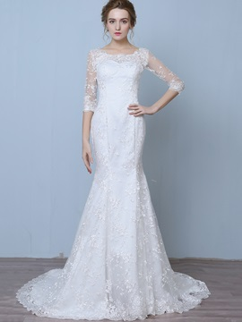 Charming Off The Shoulder Lace Mermaid Wedding Dress With Sleeves