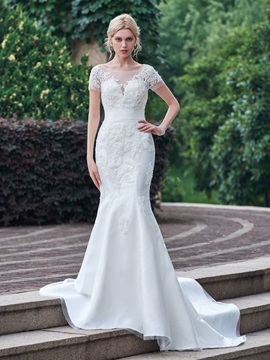 Buy Superior Sheer Neck Appliques Mermaid Wedding Dress Short Sleeves