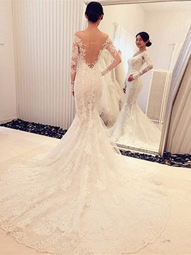 Off the Shoulder Appliques Mermaid Wedding Dress with Long Sleeve