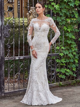 Appliques Button Lace Long Sleeves Mermaid Wedding Dress