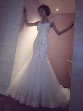 Gorgeous Straps Appliques Mermaid Tulle Wedding Dress