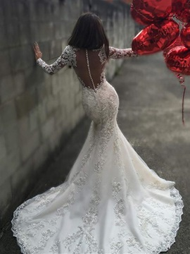 Fabulous Appliques Sheer Back Mermaid Wedding Dress with Long Sleeves