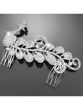 Graceful Peacock Shaped Alloy with Rhinestone Wedding Tiaras