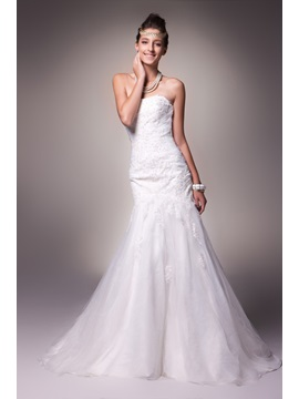 Sexy Trumpet/Mermaid Strapless Embroidery Sweep Alice's Wedding Dress