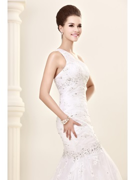 Mermaid One-shoulder Beading Mermaid Chapel Train Lace Sandra's Wedding Dress