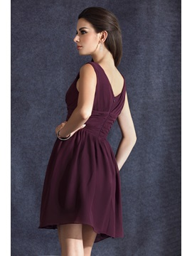 Elegant Ruched A-Line Short/Mini Empire Waist V-neck Taline's Bridesmaid Dress