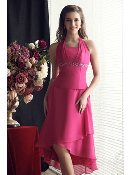 A-Line Asymmetry Halter Beading Empire Waist Sandra's Bridesmaid Dress