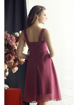 Flower Pleats Straps Knee-Length Bridesmaid Dress