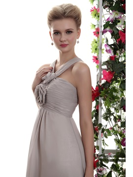 Charming Flowers Pleats A-Line V-Neck Floor-Length Yana's Bridesmaid Dress