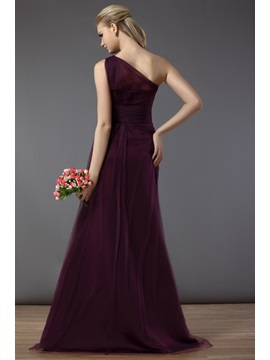 Draped Illusion Column One-Shoulder Floor-Length Bridesmaid Dress