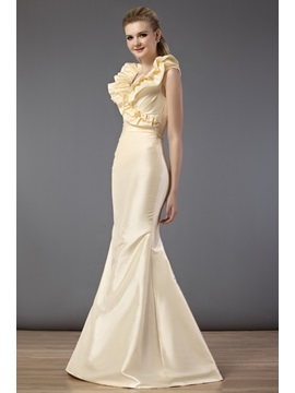 Charming Cascading Ruffles Trumpet Floor-length Bridesmaid Dress