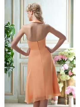 Designer A-line Knee-Length Halter Bridesmaid Dress