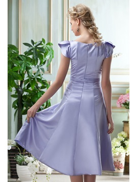Sashes A-Line Knee-Length Short-Sleeves Homecoming/Event Dress