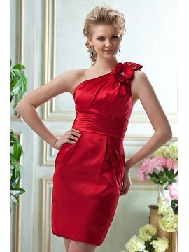 Faddish Pleats Flowers A-Line One-Shoulder Knee-Length Bridesmaid Dress