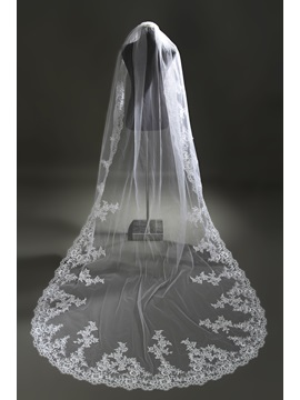 Gorgeous White Lace Appliques Cathedral Wedding Veil