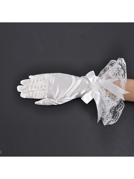 Lace Bowtie Short Fingers Wedding Bridal Glove