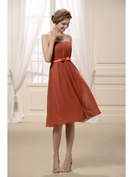 Strapless Rouched A-line Strapless Knee-Length Hot Sell Bridesmaid Dress