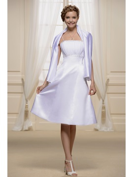 Spaghetti Straps Shirred Empire Bridesmaid Dress With Jacket/Shawl