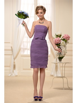 Enchanting Strapless Tiered Sheath Short Purple Bridesmaid Dress