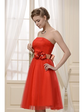 Flowers A-Line Strapless Knee-length Bridesmaid Dress