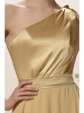 Pleats Bowknot A-Line One-Shoulder Floor-Length Bridesmaid Dress