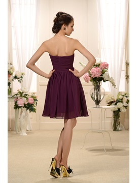 Elegant Ruched A-Line Sweetheart Neckline Knee-Length Bridesmaid Dress