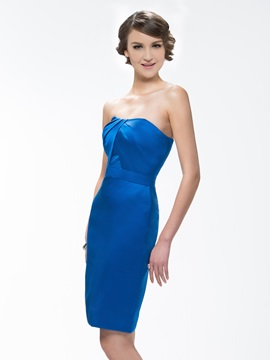Strapless Sheath Knee-Length Zipper-Up Bridesmaid Dress