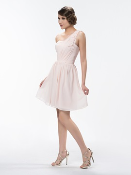 Cute One Shoulder A Line Ruched Short/Mini Ruffles Bridesmaid/Homecoming Dress