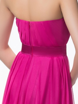 Simple Strapless A-Line Ruched Zipper-up Long Bridesmaid Dress