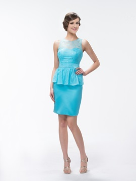 Superior Sheath/Column Lace Knee-Length Zipper-Up Jewel Neck Bridesmaid Dress