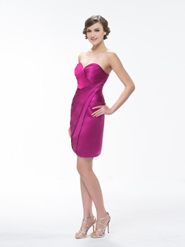 Cute Sweetheart Pure Color Sheath Short/Mini Ruffles Bridesmaid Dress