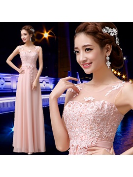 Lace Appliques Scoop Neck Floor Length Pink Bridesmaid Dress