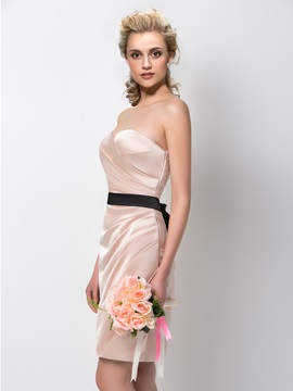 Gorgeous Ruched Sweetheart Sheath Knee Length Bridesmaid Dress
