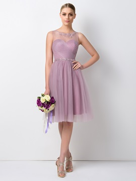 Pretty Sheer Beaded Jewel Neck Short A-Line Tulle Bridesmaid Dress