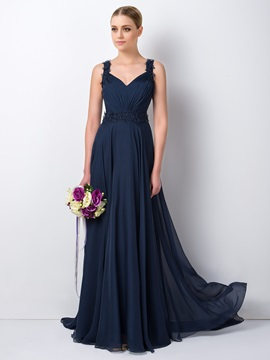 Charming Beaded Floral Straps Blue Long Bridesmaid Dress