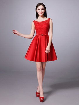 Above Knee Bateau Neck Lace Top Red Bridesmaid Dress