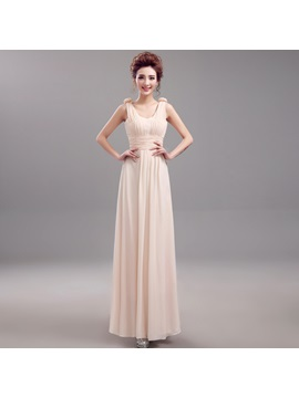 A-Line Floral Straps Ruched Long Bridesmaid Dress