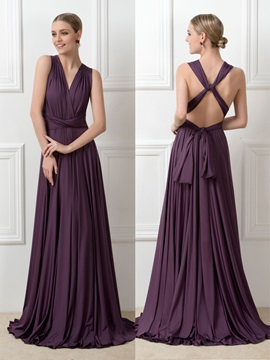 A-Line Ruched Milk Silk Convertible Bridesmaid Dress