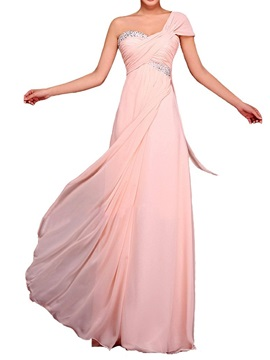 Empire Waist One-Shoulder Beading Chiffon Long Bridesmaid Dress