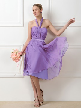 Convertible Purple A-Line Knee-Length Short Bridesmaid Dress