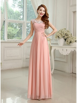 Scoop Neck Appliques Chiffon Long Bridesmaid Dress