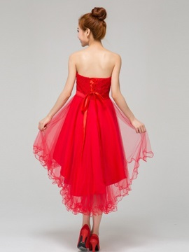 Cheap Red Tulle Asymmetry Bridesmaid Dress