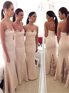 Elegant Strapless Long Sheath Lace Bridesmaid Dress