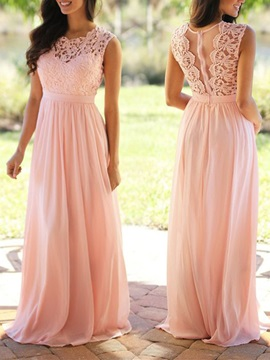 Popular Straps Lace Top Long Bridesmaid Dress