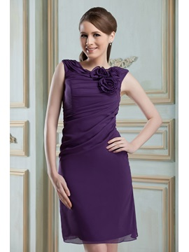 Cheap Scoop Neck Flowers Sheath Short Nadya's Bridesmaid Dress